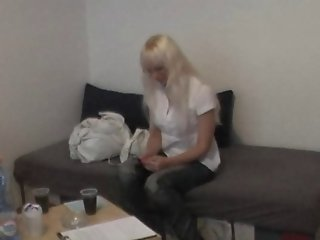 Real czech blonde does BJ during interview