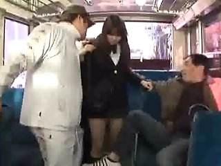 Schoolgirls get fucked in the bus