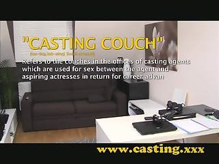 Casting - crazy girl gets a pussy full of cum
