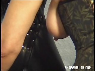 Extreme milf slavesex and blowjobs of leather hooded amateur