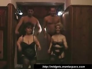 Group sex with two midgets
