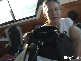 Horny amateur babes masturbating on a boat