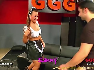 Orgy with a sexy and naughty French maid