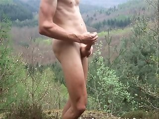 Outdoor cumshot with hairless Penis