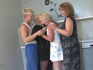 Mature sluts party with one hard cock