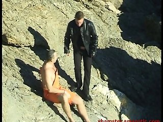 Outdoor gay action at the beach