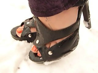 Babysitter feet and snow
