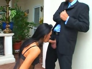 Submissive beauty and 3 guys
