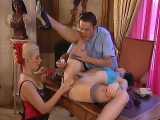 Dildo and Anal fisting treatment. Threesome, Lingerie