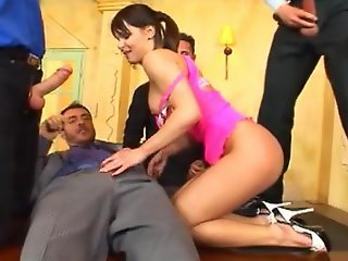 Sexy in pink teasing and fucking 4 men. Group Facial
