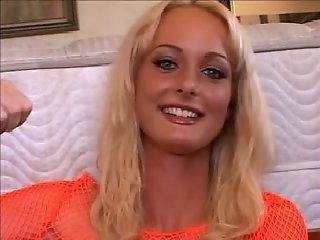 Younger & blonde Melissa Lauren gets gangbanged by 10!