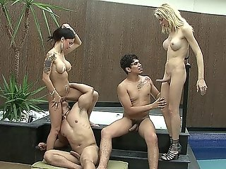 Intersex Orgy With Two Hot Guys, A Beautiful Babe And A Horny Shemale With A Big Dick