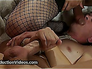 Guy Tied Up And Mouth Fucked By Tranny