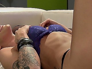 Sexy Brunette Slut With Tattoos Masturbating On The Couch