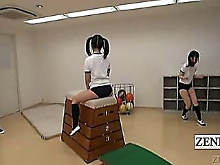 Subtitled Japanese Schoolgirls Gym Class Butt Training