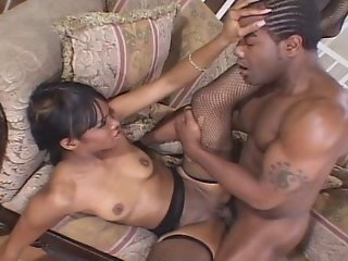 Sexy Black Slut Deepthroats A Black Dick And Gets Her Mocha Pussy Drilled