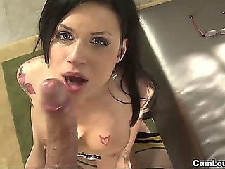 Naughty Eva Angelina Gets Splashes On Glasses