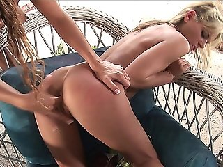 Two Smoking Hot Lesbian Sluts Get Busy In The Patio