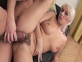 Sexy Platinum Blonde Milf Getting Her Hairy Muff Stuffed With Dick