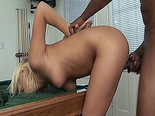 Sexy Blonde Slut Gets Fucked And Cummed On By A Big Black Cock