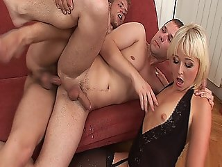 Hot Blonde Babe Sharing Her Husband With A Hot Bisexual Stud