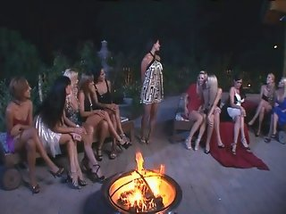 Incredible All Lesbian Gangbang With Strap On Dildos