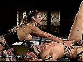 Bound Guy Fucked By Babe With Strapon