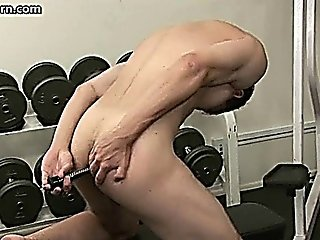 Crazy Dude Toying At The Gym