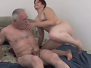 Chubby Whore Rides On An Old Mans Hard Cock