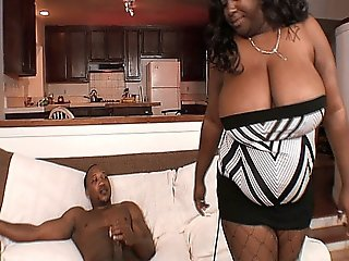 Chunky Ebony Bbw With Huge Titties Sucking And Fucking A Big Black Cock