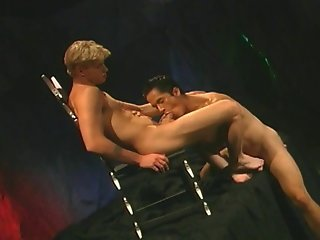 Brunette Gay Stud Sucking A Blonde Cock And Taking It Up The Ass