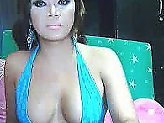 Busty Hot Tranny Jerking His Cock