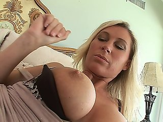 Horny Blonde Milf With Big Tits Masturbates, Sucks Cock And Gets Fucked