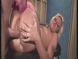 Blonde Bitch Anally Filled With A Dong And A Cock