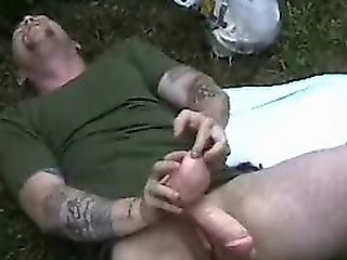Man With Tattoos Teasing His Mangina With A Rubber Cock!