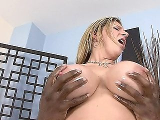 Blonde With Big Oiled Up Tits Gets Her Pussy And Ass Interracially Fucked