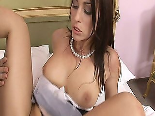 This Horny Spanish Maid Enjoys Two Hard Cocks Inside Her