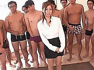 Asian Slutty Redhead Sucking Shafts In A Row For Bukkake