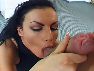 Slutty Looking Brunette Eating Dick And Getting Nailed