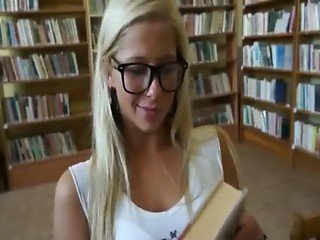 Nerdy blonde student blowjob and anal banged in the library