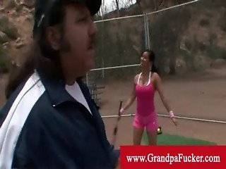 Delightful brunette learning baseball