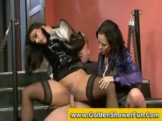 Dressy brunettes in satin seducing and sucking off a lucky guy