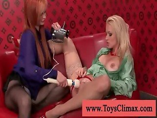 Blonde with piercing loves stimulator