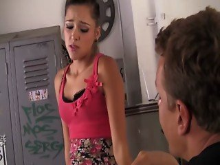 Petite teen babe on her knees to suck big cock