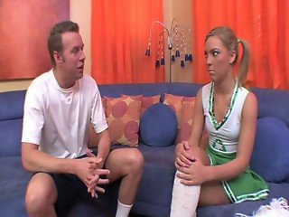 Hot cheerleader fucks a huge cock