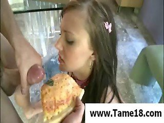 Ivy Winters eats pizza with fresh cum