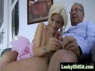 Lucky older guy fucks and plays with pretty young blonde