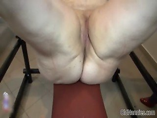 Horny fat granny gets her pussy punished