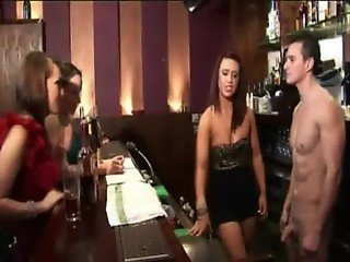 Cfnm partying fetish hotties strip bartender