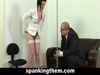 Spanking lesson for lazy secretary